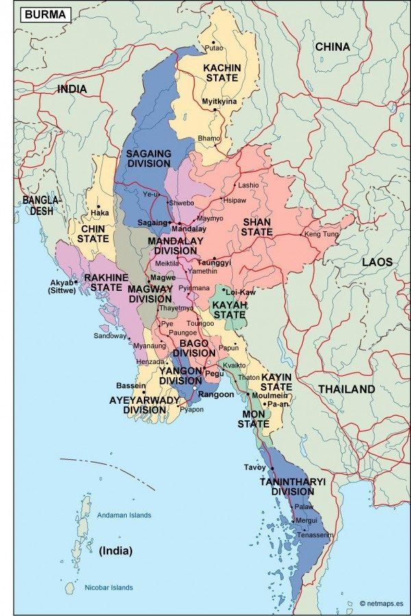 Zirco On Map Of Burma on