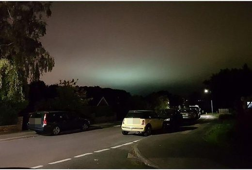 Eerie green glow over Kent, UK