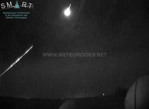 Meteor fireball over Spain