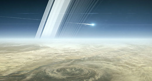 Cassini burning up above Saturn