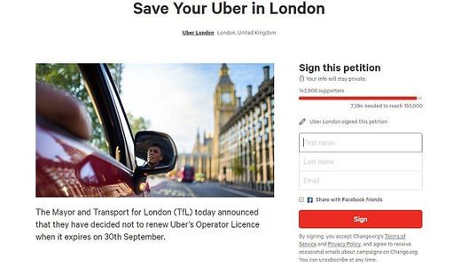 Uber petition London