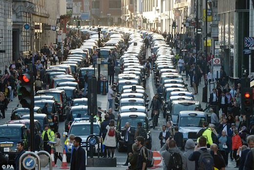London cabbies protest Uber
