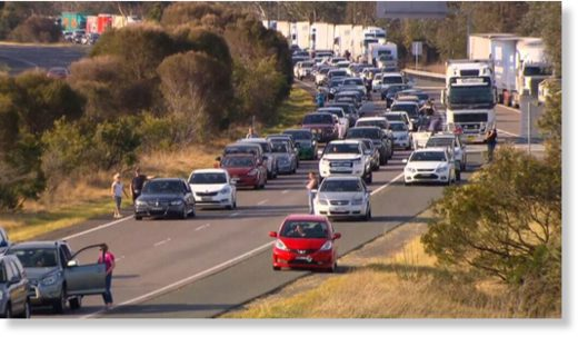 Traffic was banked back for almost 10km on the Hume Highway yesterday.