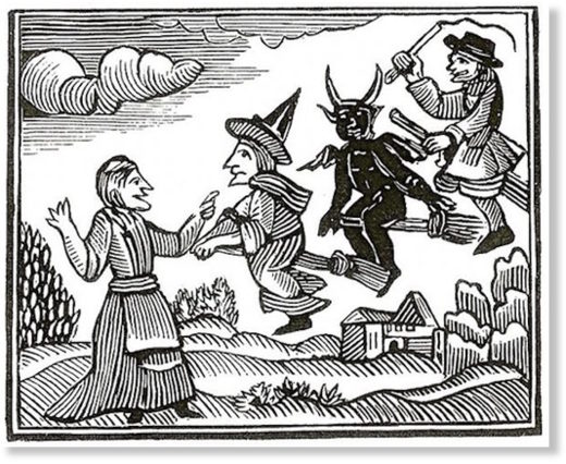 17th-century woodcut of witches in flight