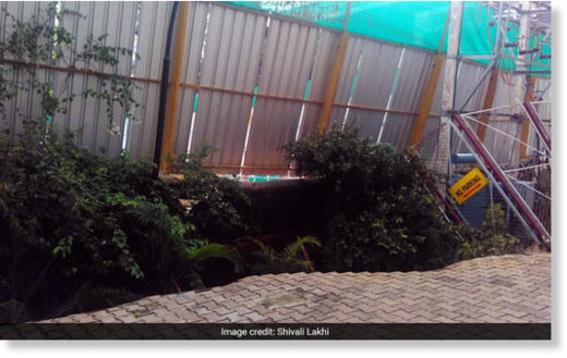 The huge sinkhole appeared in a private residential society in Bengaluru's Koramangala