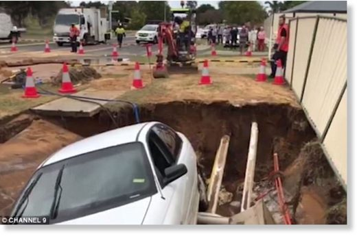 A sinkhole has swallowed cars and caused major traffic delays in Perth