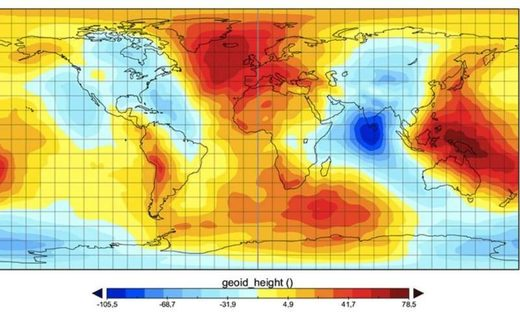 A map modelling the geoid surface