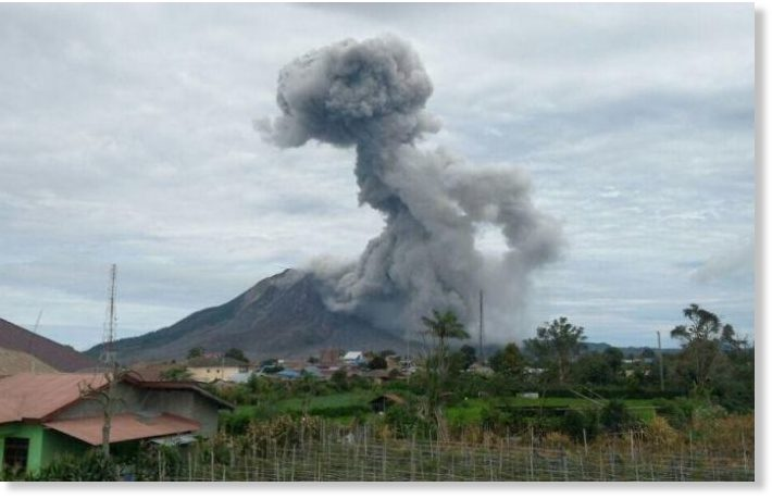 Mount Sinabung erupts in North Sumatra, Indonesia -- Earth ...