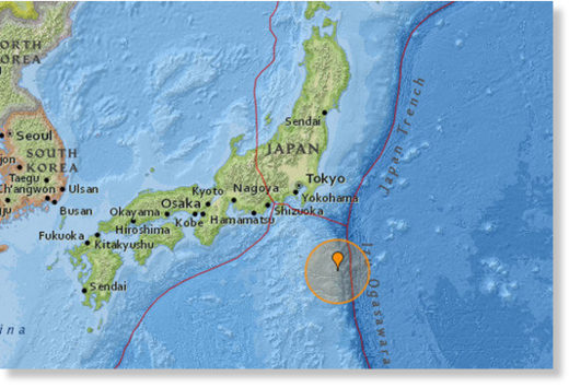 The earthquake struck at a depth of 20km 165km south east of Hachijo-jima