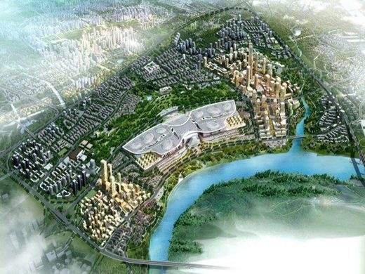 A semi-fantastical rendering of what Chongqing, China will look like with Suez's new drainage system