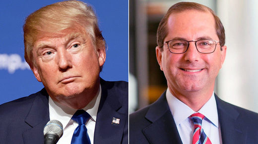 US President Donald Trump (L) and Alex Michael Azar