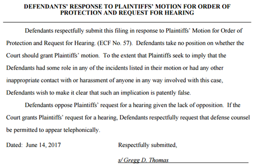 Defendants' Response to Plaintiffs' Motion for Order of Protection and Request for Hearing