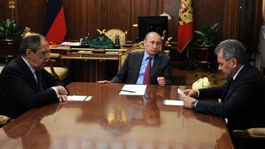 Sergei Lavrov, Vladimir Putin and Sergei Shoigu