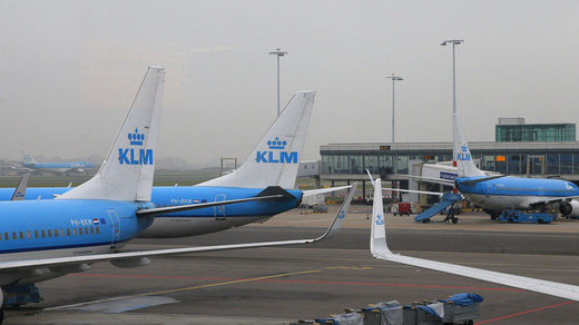 A KLM flight encountered poor weather while taking off from Schipol Airport in Amsterdam