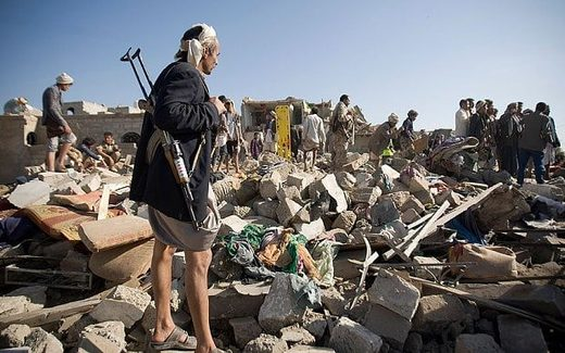 People search for survivors under the rubble of houses destroyed by Saudi airstrikes in Sanaa, Yemen Photo: AP