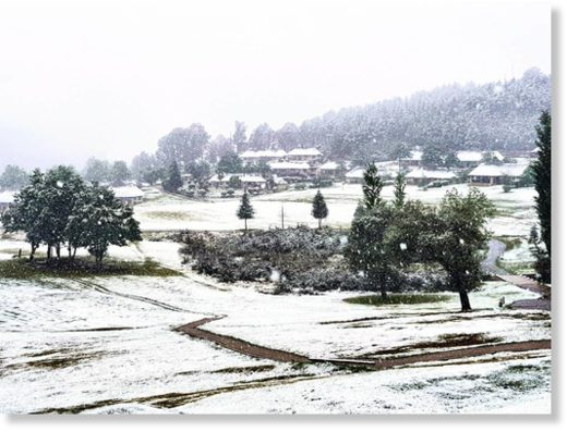 A light snowfall dusts the Fairways at the Drakensberg Gardens resort in the southern Berg