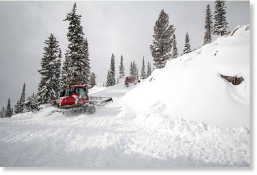 Jackson Hole Mountain Resort groomers carve a traverse under a heavy layer of new snow.