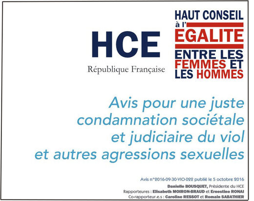 Cover of the report published by the high council for equality between women and men