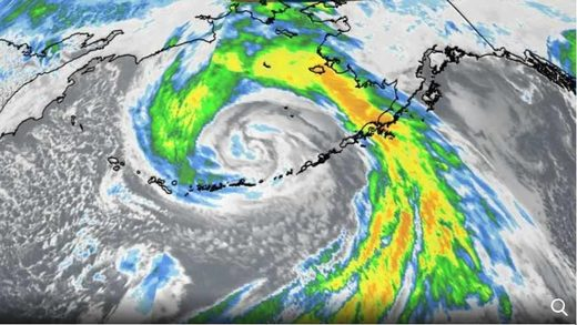 Infrared satellite of the Bering Sea storm