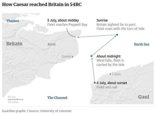 caesar invade britain map