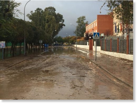 Flood damage in Campillos, Spain, November 2017