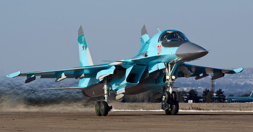 A Russian Sukhoi Su-34 fighter-bomber takes off. Image: Alex Beltyukov/Wikimedia/CC BY-SA 3.0