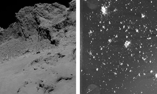 Left: The surface of Rosetta's comet. As the comet approaches the Sun