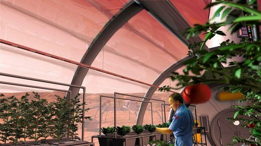 Artist's impression of a food growing facility on Mars.