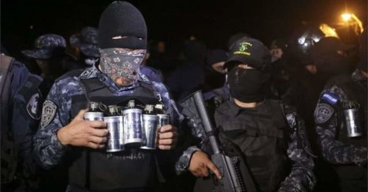 Masked officers in the Honduras National Police