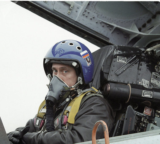 Vladimir Putin in the cockpit of the Su-27 fighter