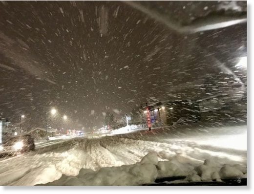 Snow filled roads Wednesday in Valdez, Alaska.