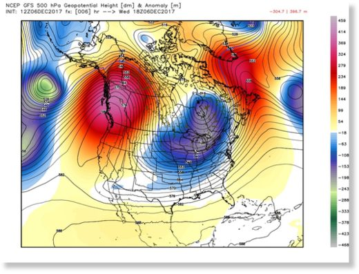 The North American Winter Dipole Pattern with a large ridge of high pressure in the Western U.S., and deep trough in the Eastern U.S., which aided in the formation of the atmospheric river on Wednesday.