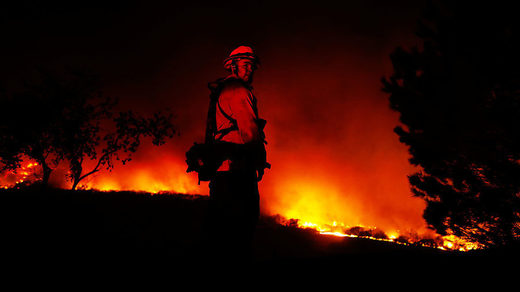 Lilac Fire, a fast moving wildfire, in Bonsall, California
