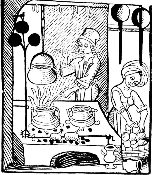 A woodcut illustration from the Kuchenmaistrey, the 15th century-era German cookbook, depicting two cooks in the kitchen. Public Domain