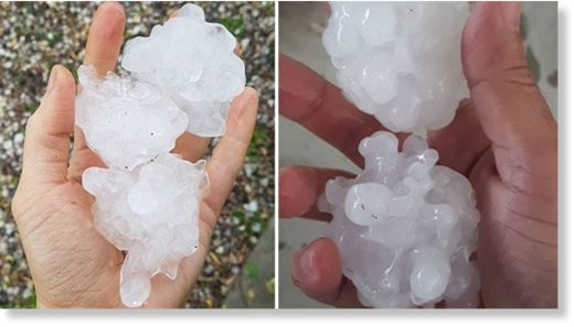 Grafton residents were treated to huge chunks of hail.