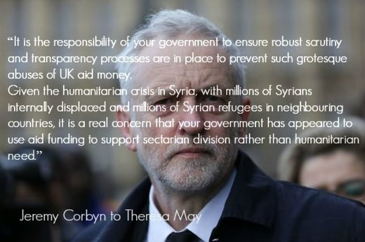 Corbyn UK aid money