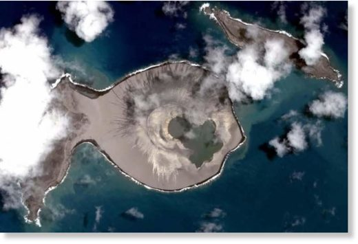 View from above the new Tongan island, which formed after a submarine eruption