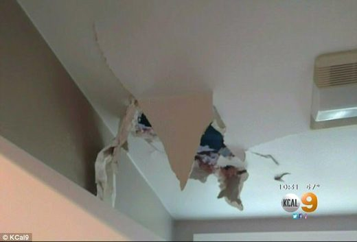 Drywall damage from falling ice