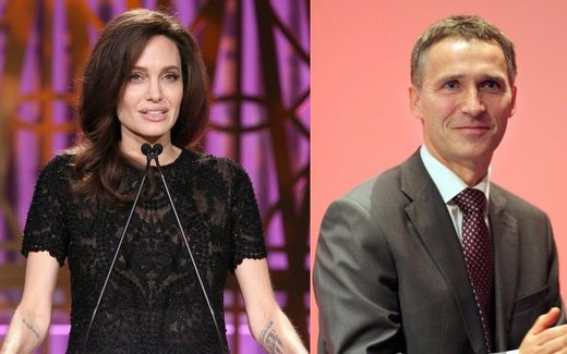 Jens Stoltenberg and Angelina Jolie