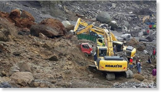 Rescuers are using heavy machinery to search for survivors after the landslide on the slopes of Mount Merapi