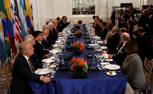 US President Donald Trump attends a working dinner with Latin American leaders in New York