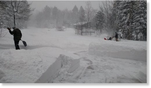 Heavy snowfall has rangers digging out the headquarters at Porcupine Mountains Wilderness State Park