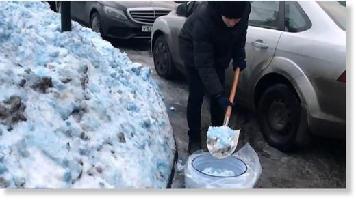 What could have caused this eerie blue snow?