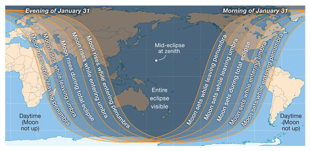 January 31 Lunar Eclipse Map.First Total Lunar Eclipse On January 31st Science Technology