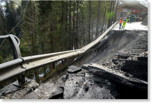 The road to the Adelboden ski resort in Switzerland, which was swept away by a rain-induced mudslide, on January 5.