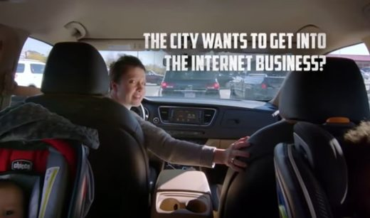 Still from an industry-funded ad warning against municipal broadband in Fort Collins, Colorado.
