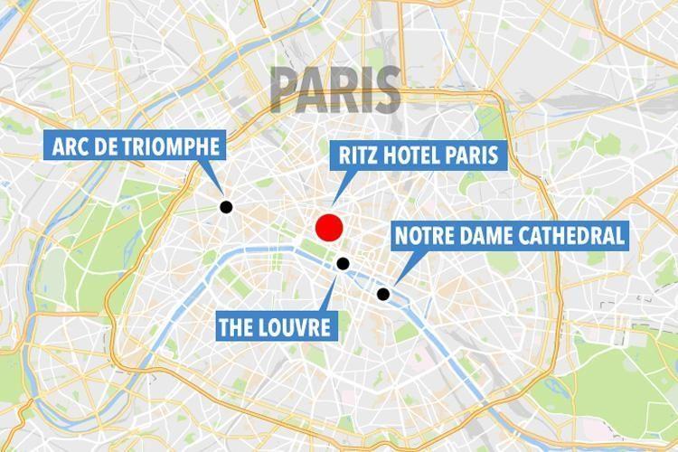 Robbery at the ritz gunshots heard as ritz paris hotel for Paris hotel map
