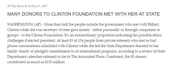 AP Donors To Clinton