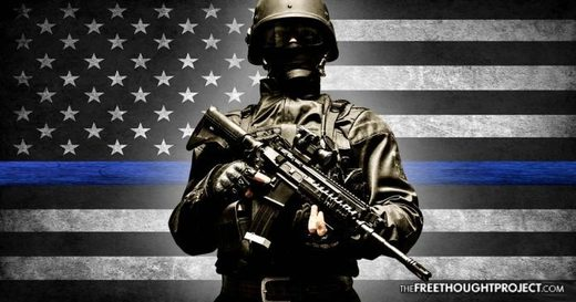 cop black and blue American flag police