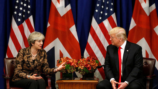 Donald Trump with Minister Theresa May